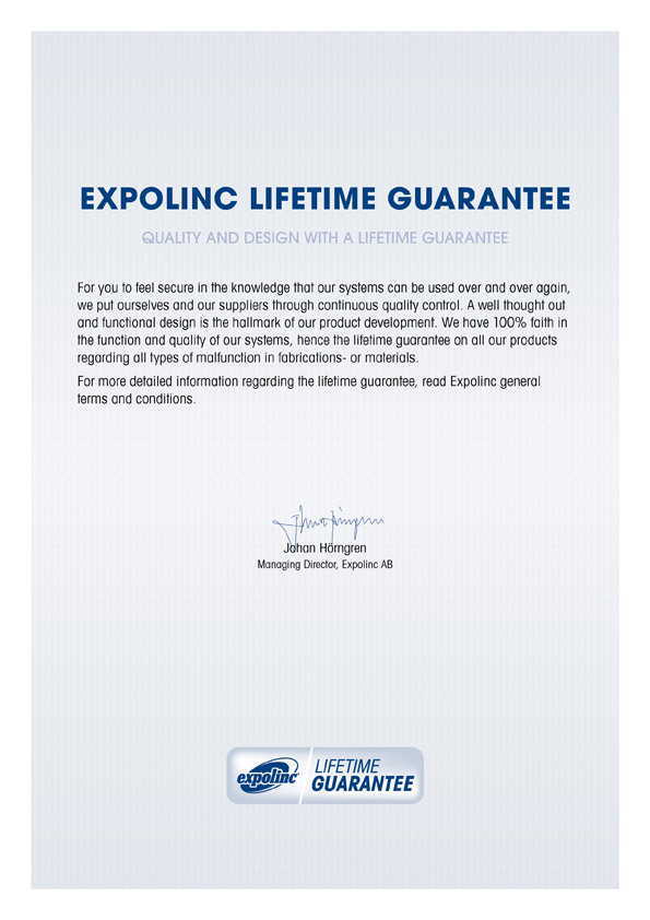Expolinc levenslange garantie lifetime guarantee